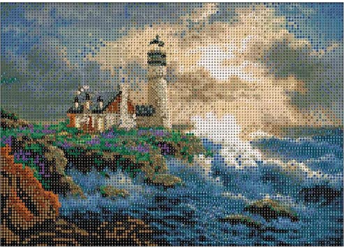 MXJSUA DIY 5D Diamond Painting by Number Kits Full Drill Rhinestone Embroidery Cross Stitch Pictures Arts Craft for Home Wall Decor,Seaside Lighthouse Cottage - 12x16inch