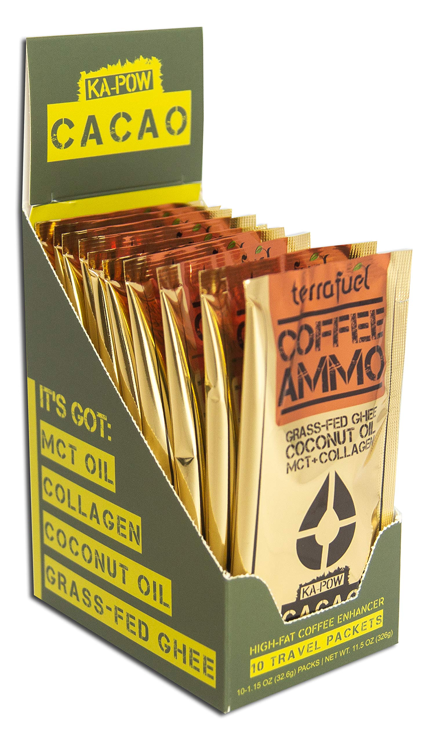 Keto Mocha Coffee Booster - Coffee Ammo - Turns Black Coffee into a Chocolate Mocha (Ka-Pow Cacao, 10-Packet Box) by TerraFuel