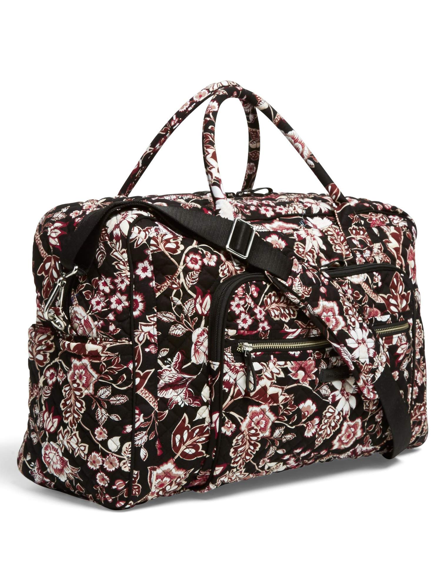 Vera Bradley Iconic Weekender Travel Bag, Signature Cotton, Desert Floral (Black/Vines Floral Neutral) by Vera Bradley (Image #1)
