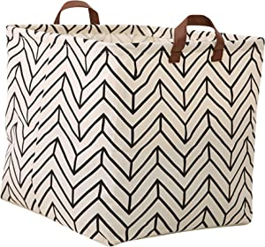 LANGYASHAN Square Storage Bins Waterproof Canvas Kids Laundry/Nursery Boxes for Shelves/Gift Baskets/Toy Organizer/Baby Room Decor(Geometric)