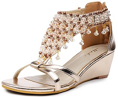 775d1b92cc22f Odema Womens Peep Toe Sandals Glitter Rhinestone Beaded Gladiator Shoes  Wedge High Heel Sandals Gold