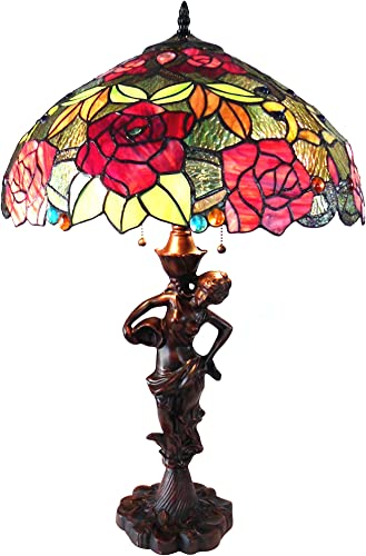 Chloe CH18790RF18-TL2 Peggy Tiffany-Style Roses Table Lamp