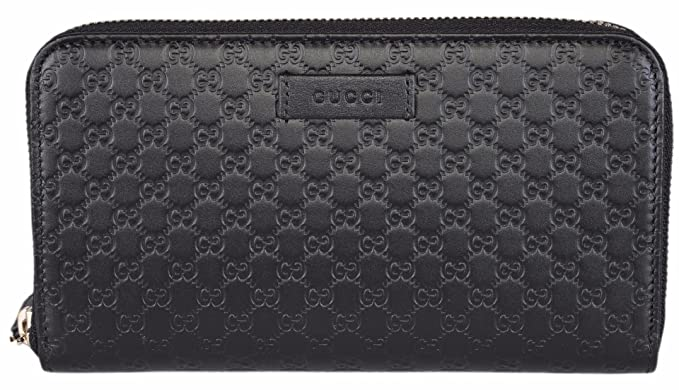 368ad612e86f Gucci Women's Leather Micro GG Guccissima Zip Around Wallet (Black ...