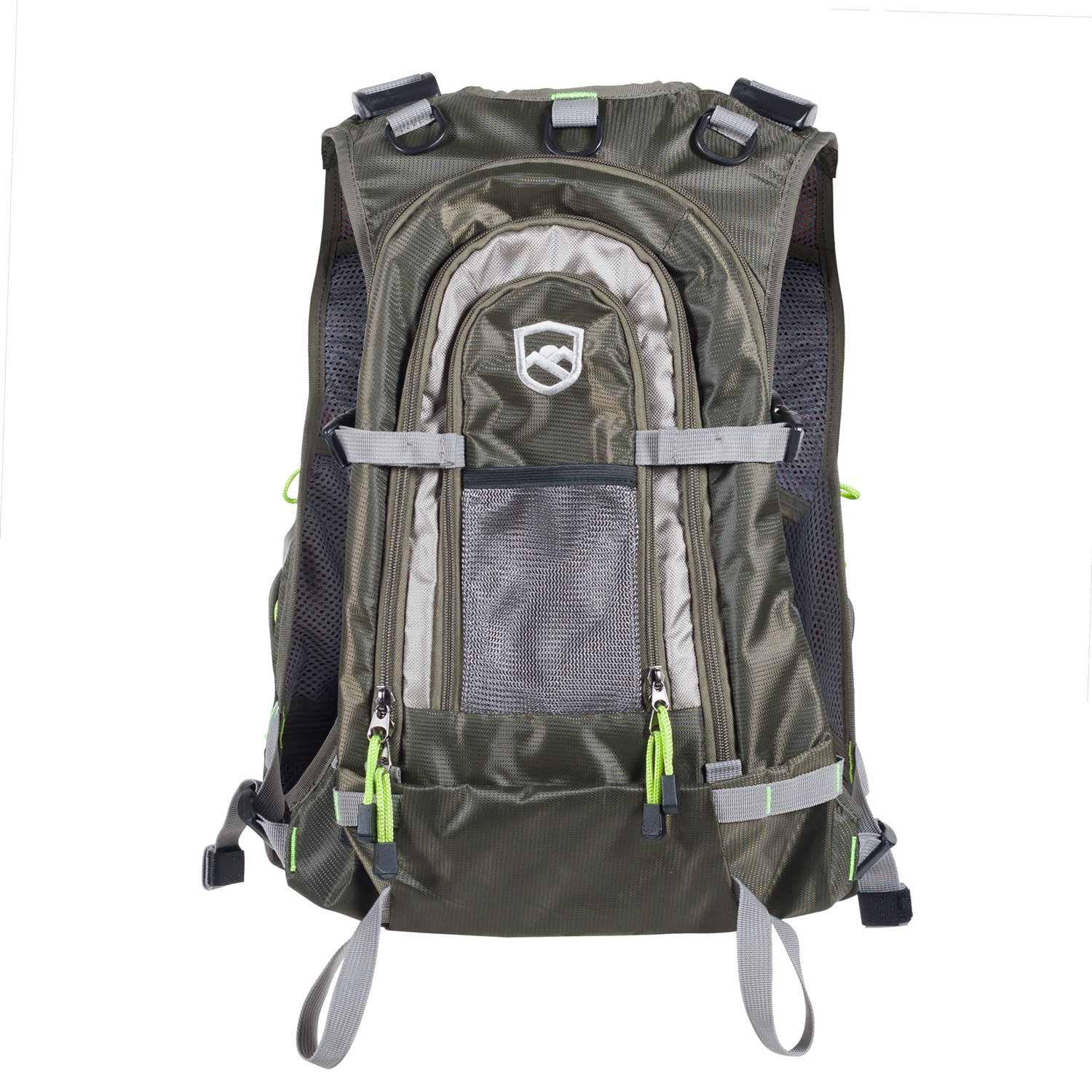 Elkton Outdoors Universal Fit Fly Fishing Vest Backpack With Hard Shell  Storage Compartments And Rod Holders / Fly Fishing Vest Pack / Fishing Vest  Mesh