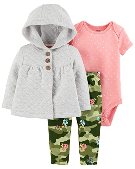 ba3df848f Carter's Baby Girls 3-Piece Cardigan Set (Newborn, Heather/Pink/Green