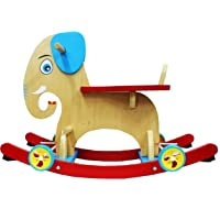 Emob 2 in 1 Wooden Baby Rocker Elephant Assembly Rocking/Ride On Toy with Wheels