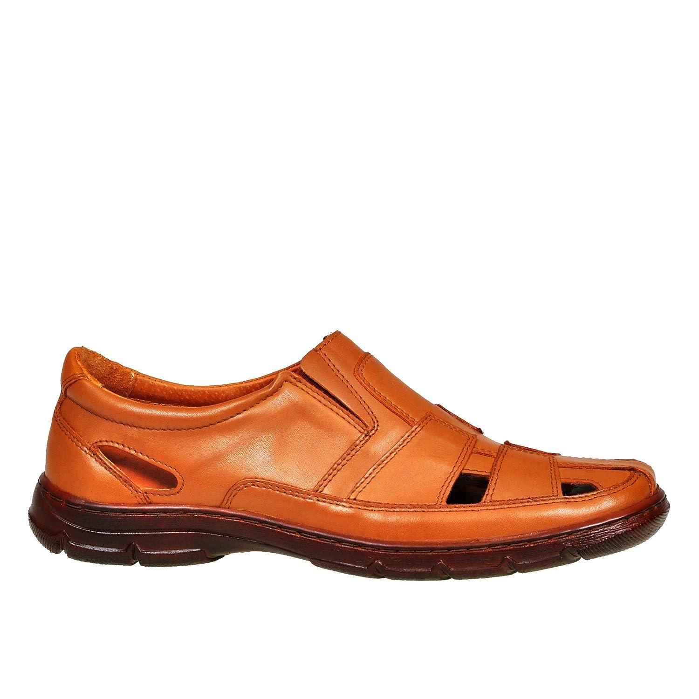 Lukpol Herren Sandalen Schuhe Aus Buffelleder mit Orthopadischen Einlage Modell-1059  45 EU|Braun