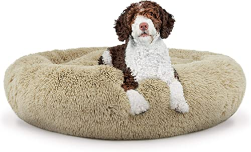 The Dog s Bed Sound Sleep Donut Dog Bed, Large Dog Biscuit Beige Plush Removable Cover Premium Calming Nest Bed