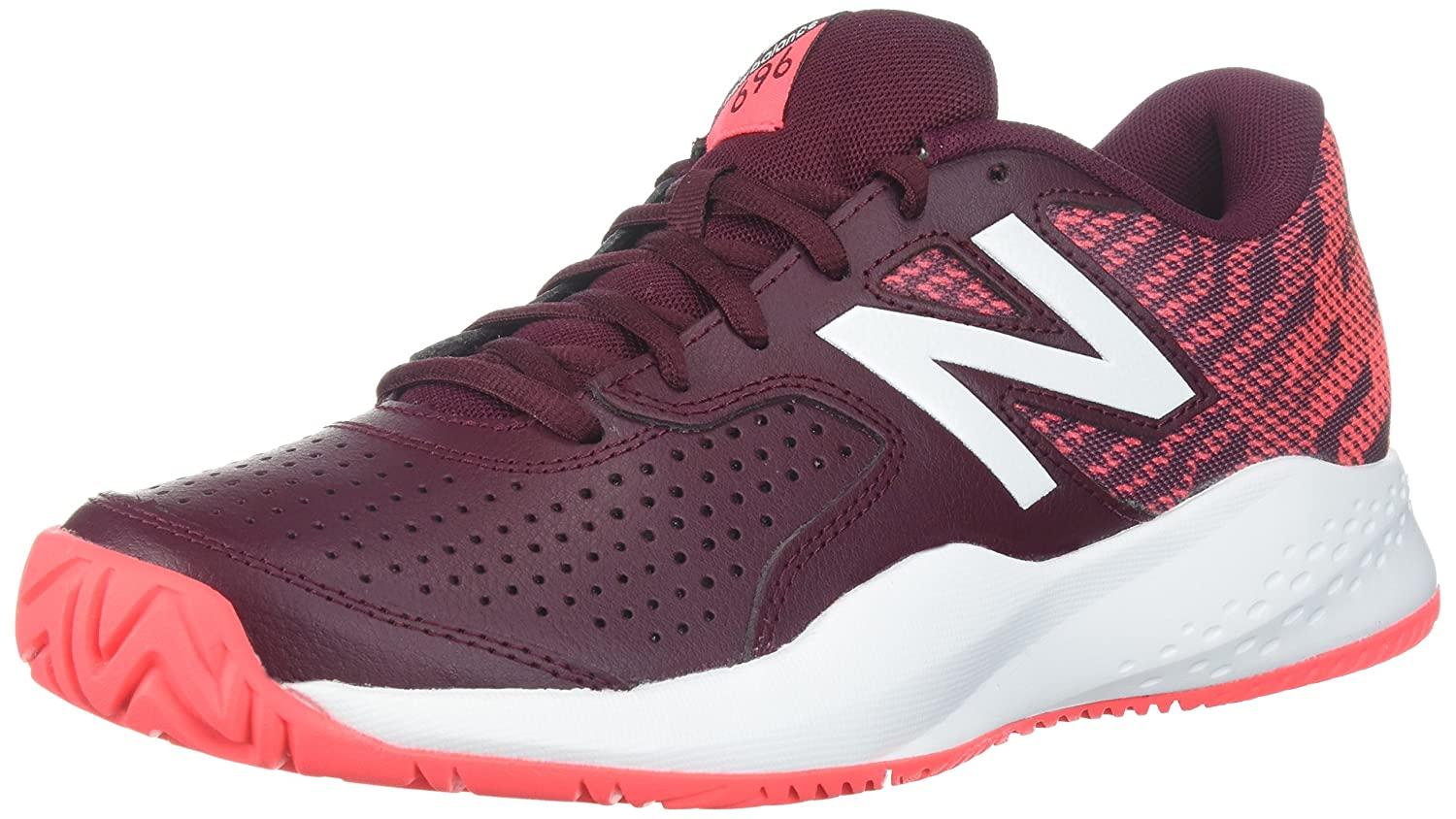 New Balance Women's 696v3 Tennis-Shoes B01N9LCCNR 7 B(M) US|Oxblood/Vivid Coral