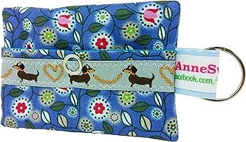 Kackbeutel blau Blumen Hundekotbeutel Spender Hundetüte Leckerli Tasche aus Wachstuch Gassi gehen Waste Geschenk Hundebesitzer Poop Bag Chien
