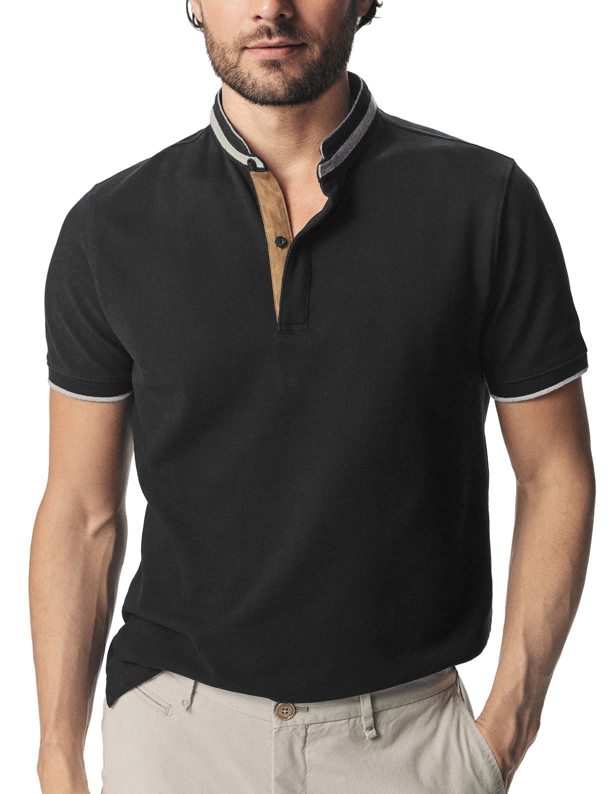 Navifalcon Polo Shirts for Men 100% Cotton Mens Basic Pique Collared T Shirts Casual Slim Fit Black XL
