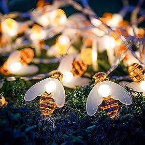 Honeybee Fairy String Lights, 14.8 FT 30 LED Honeybee Battery Power Led String Lights Simulation Honey Bees Decorative Lights for Garden Patio Gate Yard Party Wedding Bedroom Indoor Outdoor Decor