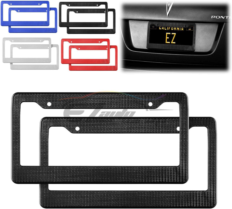 EZAUTOWRAP 2Pcs Plastic Red Matte Carbon Fiber Style License Plate Frames Front /& Rear Bracket Cover