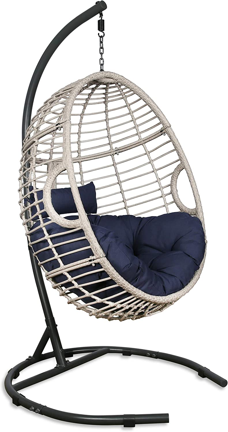 Patio Tree Outdoor Basket Swing Chair Hanging Tear Drop Egg Chair With Stand Blue Patio Lawn Garden Hammock Chairs
