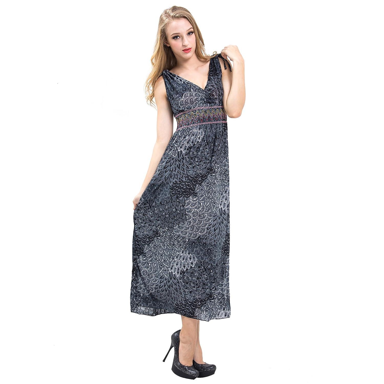 VENI MASEE® Exotisch Böhmen Tie-dye Silky lang Maxi Kleid ...