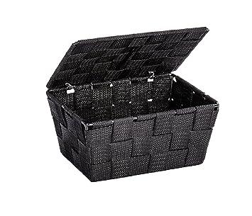 WENKO 22197100 Panier De Rangement Avec Couvercle Adria Noir,  Polypropylène, 19 X 10 X