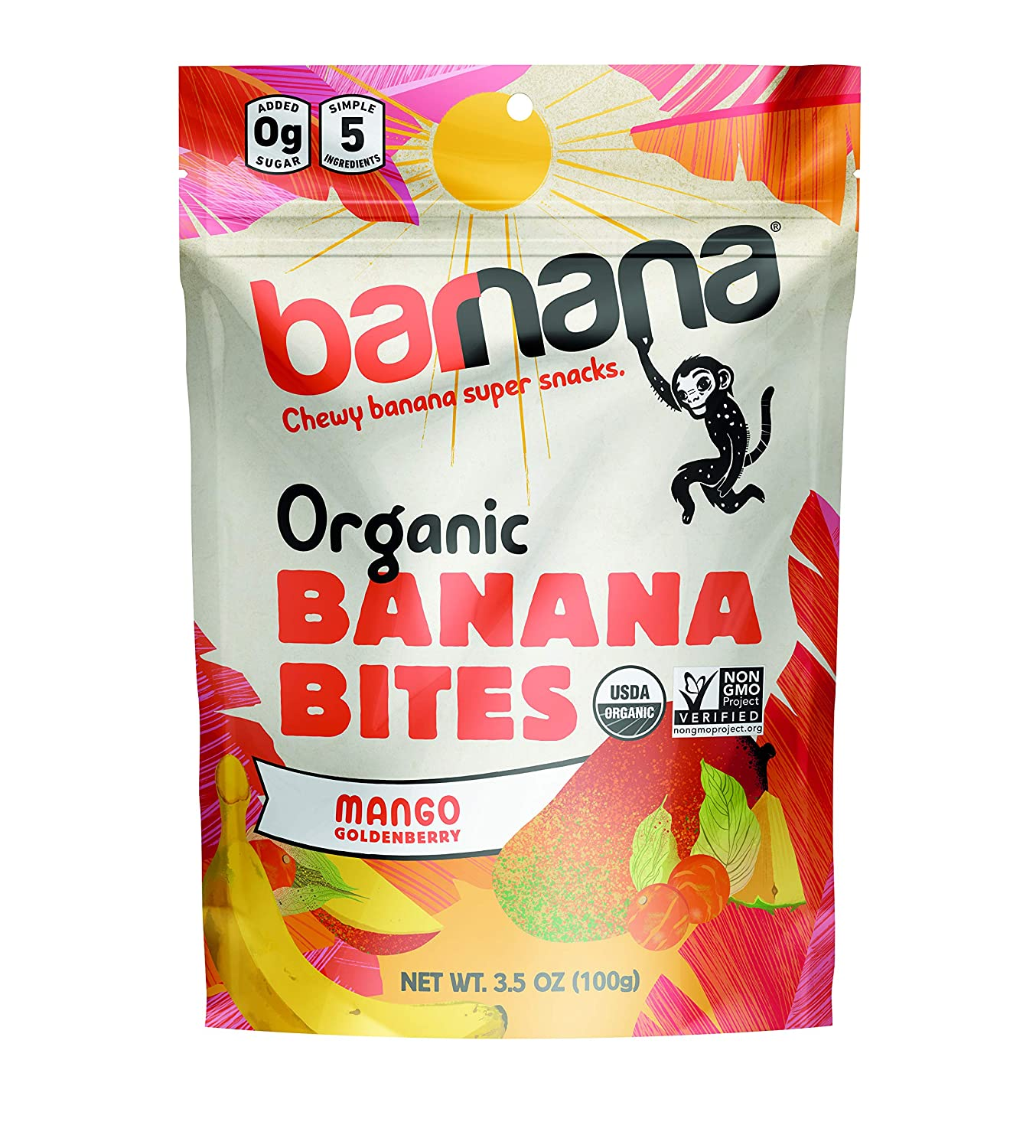 Barnana Organic Chewy Banana Bites - Tropical - 3.5 Ounce, 12 Pack Bites - Delicious Potassium Rich Banana Snacks - Lunch Dinner Sports Hiking Natural Snack - Whole 30, Paleo, Vegan