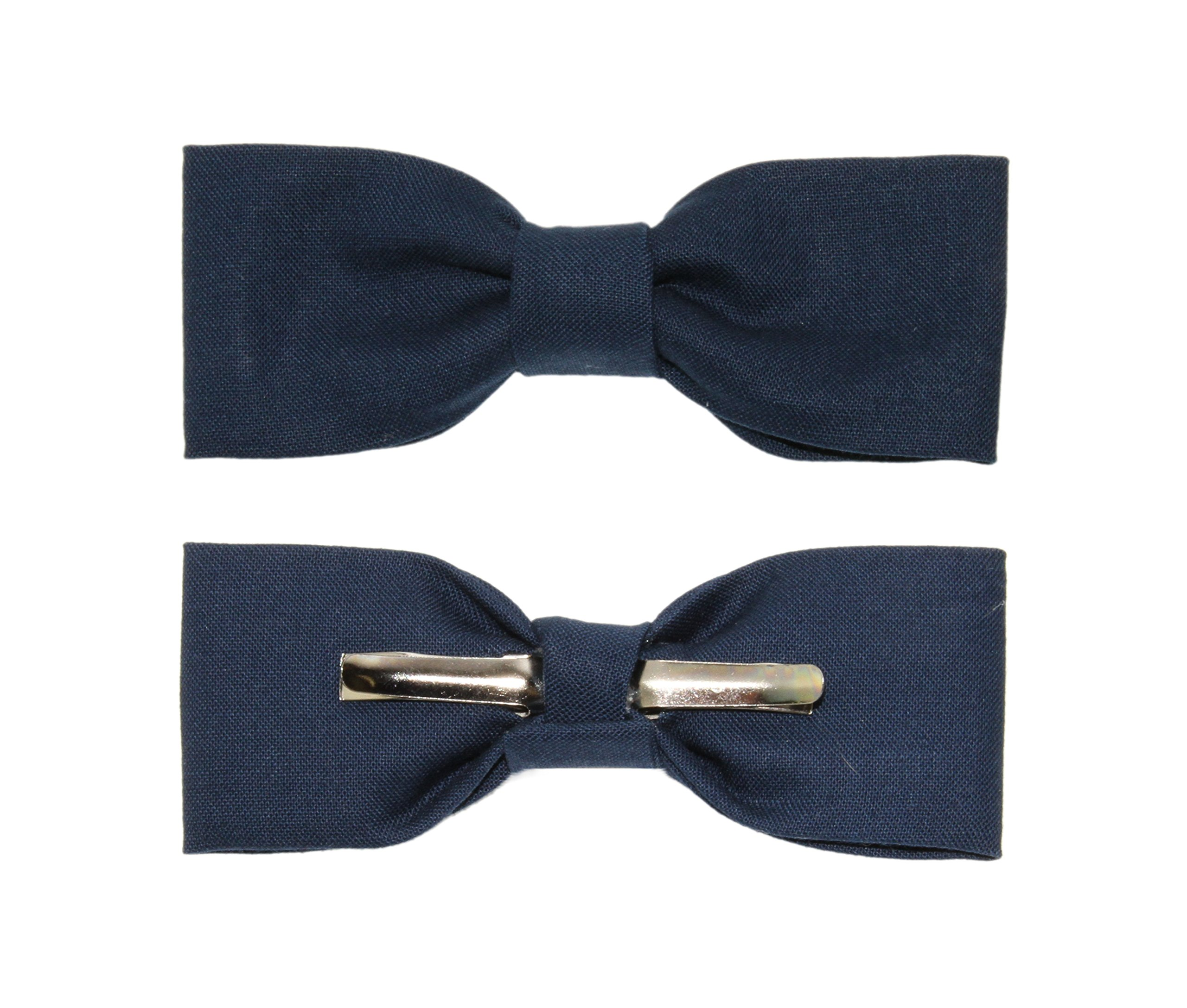 Boys Skinny Slim Navy Blue Clip On Cotton Bow Tie - Made In the USA