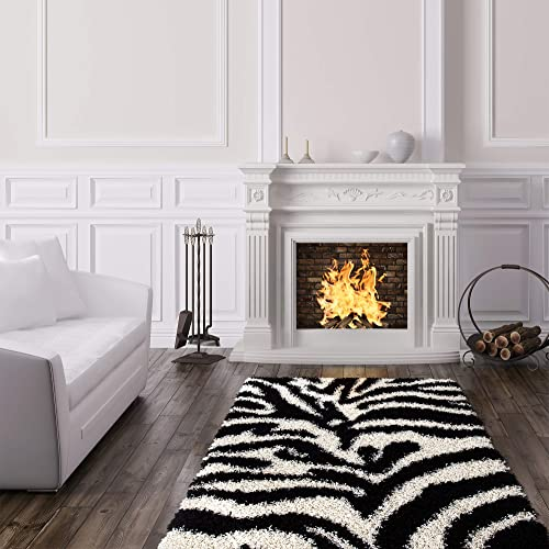Ottomanson Collection Zebra Print shag Area Rug, 5 0 X 7 0 , Black White