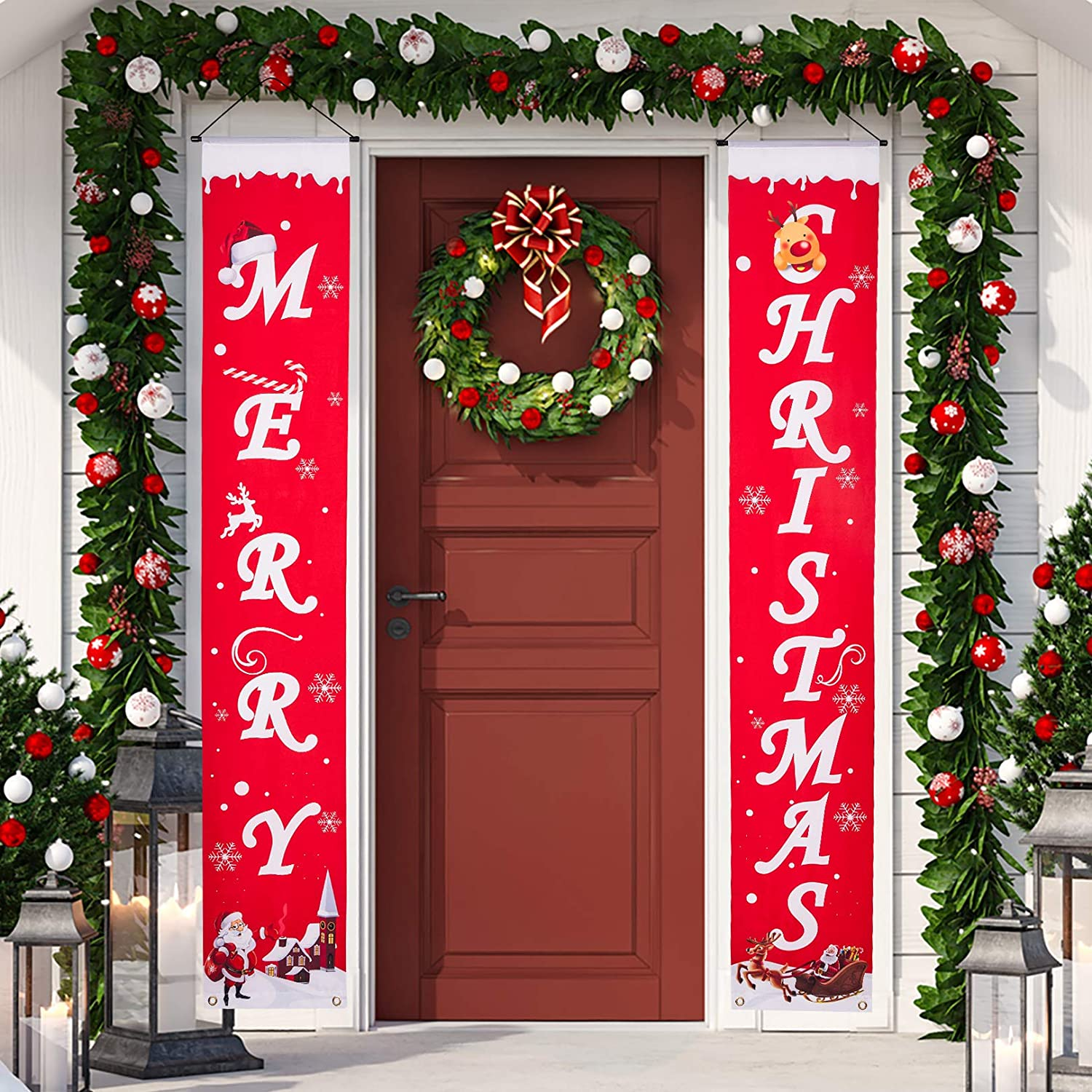 Merry Christmas Banner Christmas Porch Decorations Indoor Outdoor Christmas Decorations Hanging Merry Christmas Signs Decor for Home Wall Front Door Office Garage Holiday Party Supplies