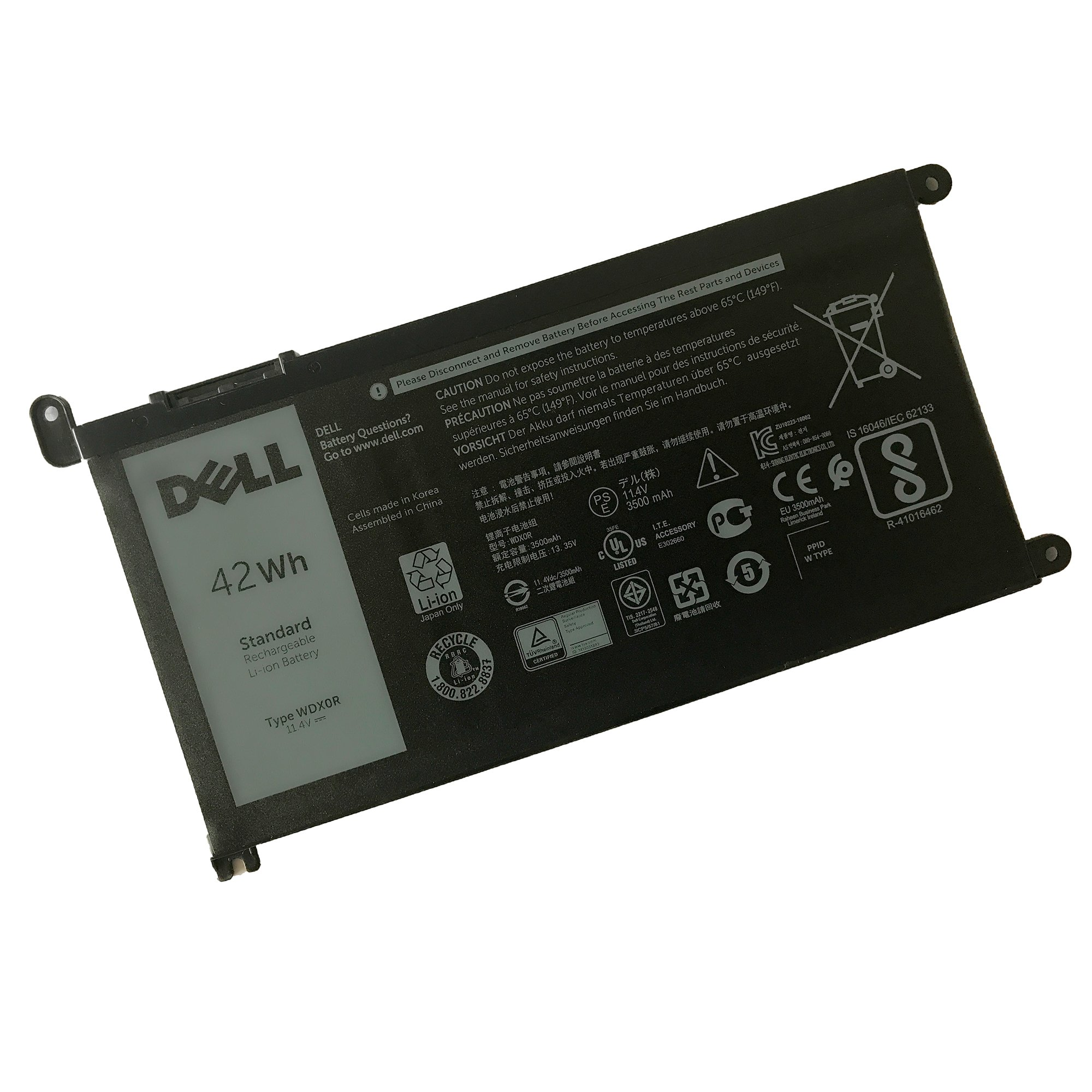 DELL WDX0R Notebook Battery 11.4V 42WH for DELL Inspiron 5368 5378 5565 5567 5568 5578 5765 5767 7368 7378 7560 7570 7579 7569 Best OEM Quality