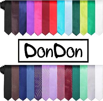 DonDon Corbata estrecha 5 cm de color azul marino - hecho a mano ...
