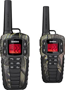Uniden SX377-2CKHSM Up to 37 Mile Range FRS Two-Way Radio Walkie Talkies w/ Dual Charging Cradle, Waterproof, Floats, 22 Channels, 142 Privacy Codes, NOAA Weather Scan + Alert, w/ 2 Headsets, Camo