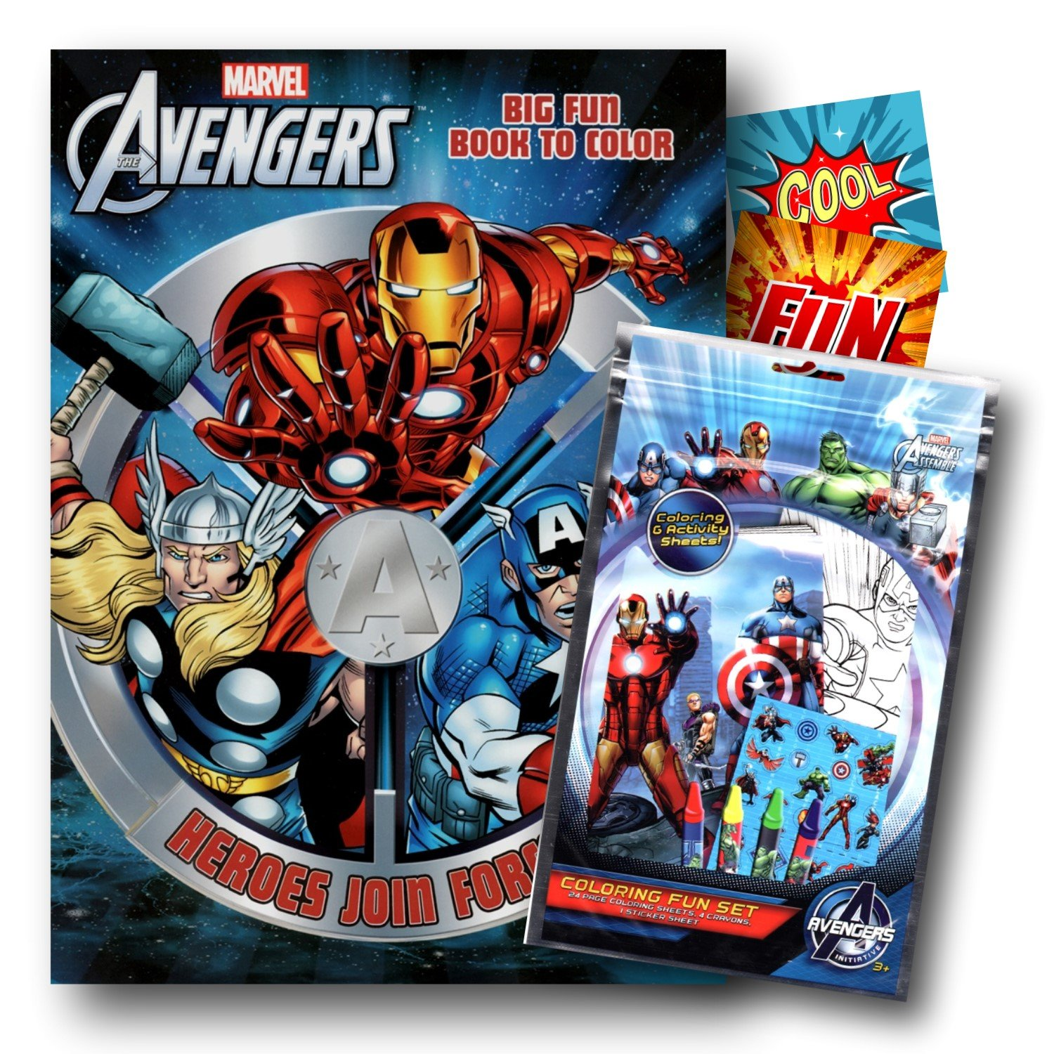 Marvel Avengers Coloring Book with Coloring Fun Pack Bundled with 2 Specialty Separately Licensed GWW Reward Stickers Bendon Coloring Activities
