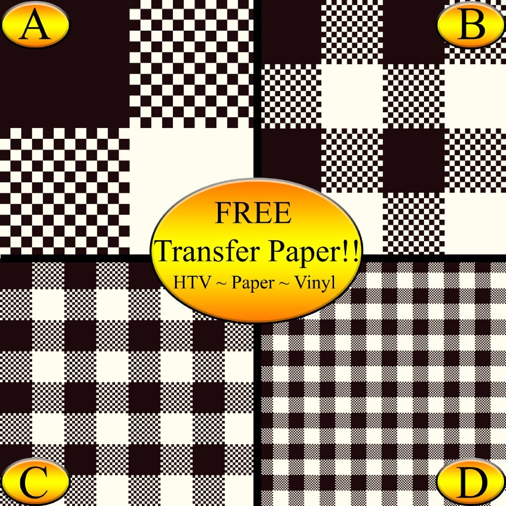 Black & Cream Checkered Pattern Printed Heat Transfer Vinyl (Style A - 4 x 6) American Sign Letters