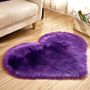 "Picturesque Indoor Heart-Shaped Anti-skidding Plush Rug/Foot Pad/Chair Pad for Bedroom Living Room Purple 15.7"" x 19.7"""