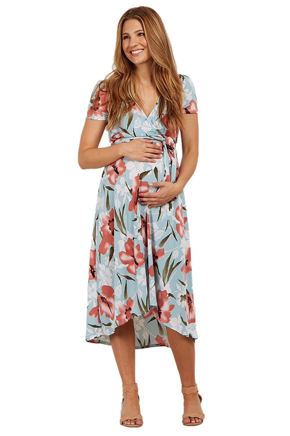 e2eb017a508d5 PinkBlush Maternity Floral Hi-Low Wrap Dress at Amazon Women's Clothing  store: