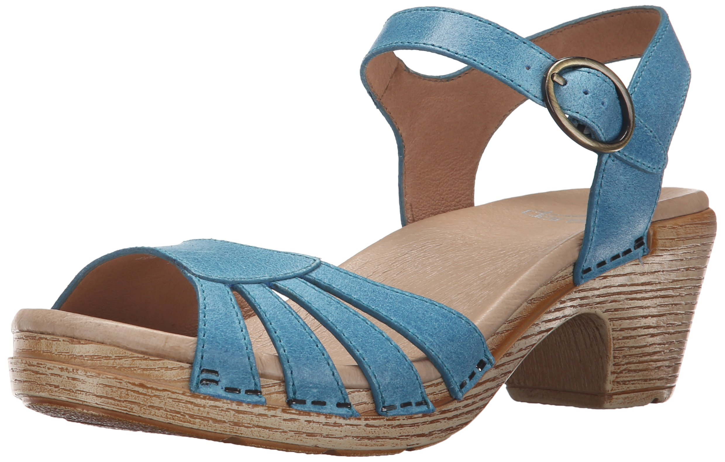 Dansko Women's Marlow Heeled Sandal, Blue Washed Leather, 39 EU/8.5-9 M US