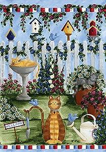 Toland Home Garden Cats Garden 12.5 x 18 Inch Decorative Spring Summer Flower Kitty Cat Welcome Garden Flag