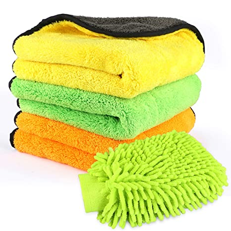 MATCC Microfibre Cleaning Cloths Pack of 6 Super Absorbent Microfibre Car Cleaning Cloth Lint Free Microfibre Towel for Car Washing Waxing Polishing Buffing Drying 40 x 40 CM