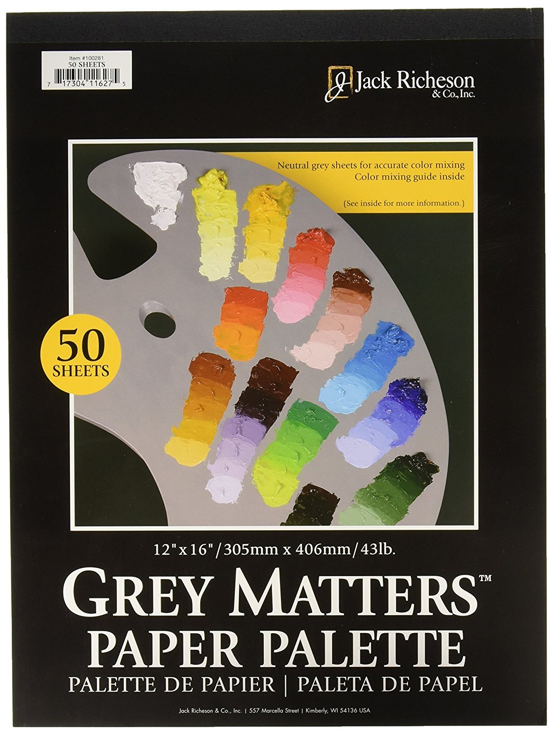 Jack Richeson Grey Matters Paper Palette, 12 by 16-Inch, 50 Sheets JACK-100281
