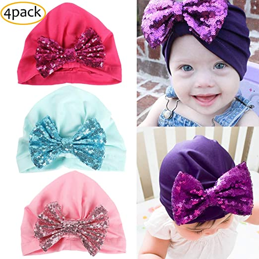 Amazon.com  YSense 4 Pack Cotton Baby Caps for Girl 978b1a8f3df