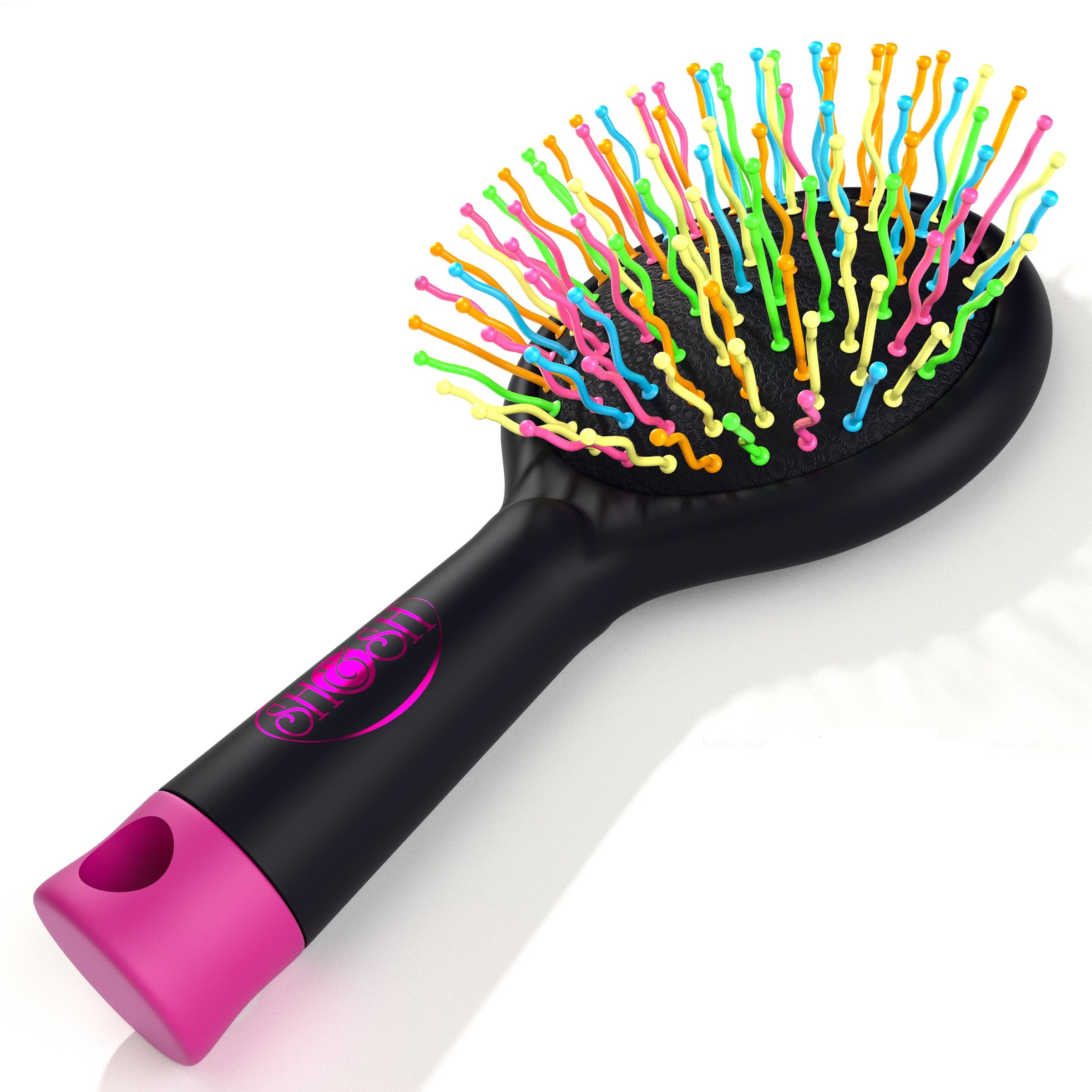 Detangling Brush with Mirror- No Tangle & Pain- Anti Static Soft Bristle- Massaging & Straightening Detangler- Rubberized Grip- Cool/ Cute Colors- Wet & Dry Detangle Comb- For All Hair Types (Black)