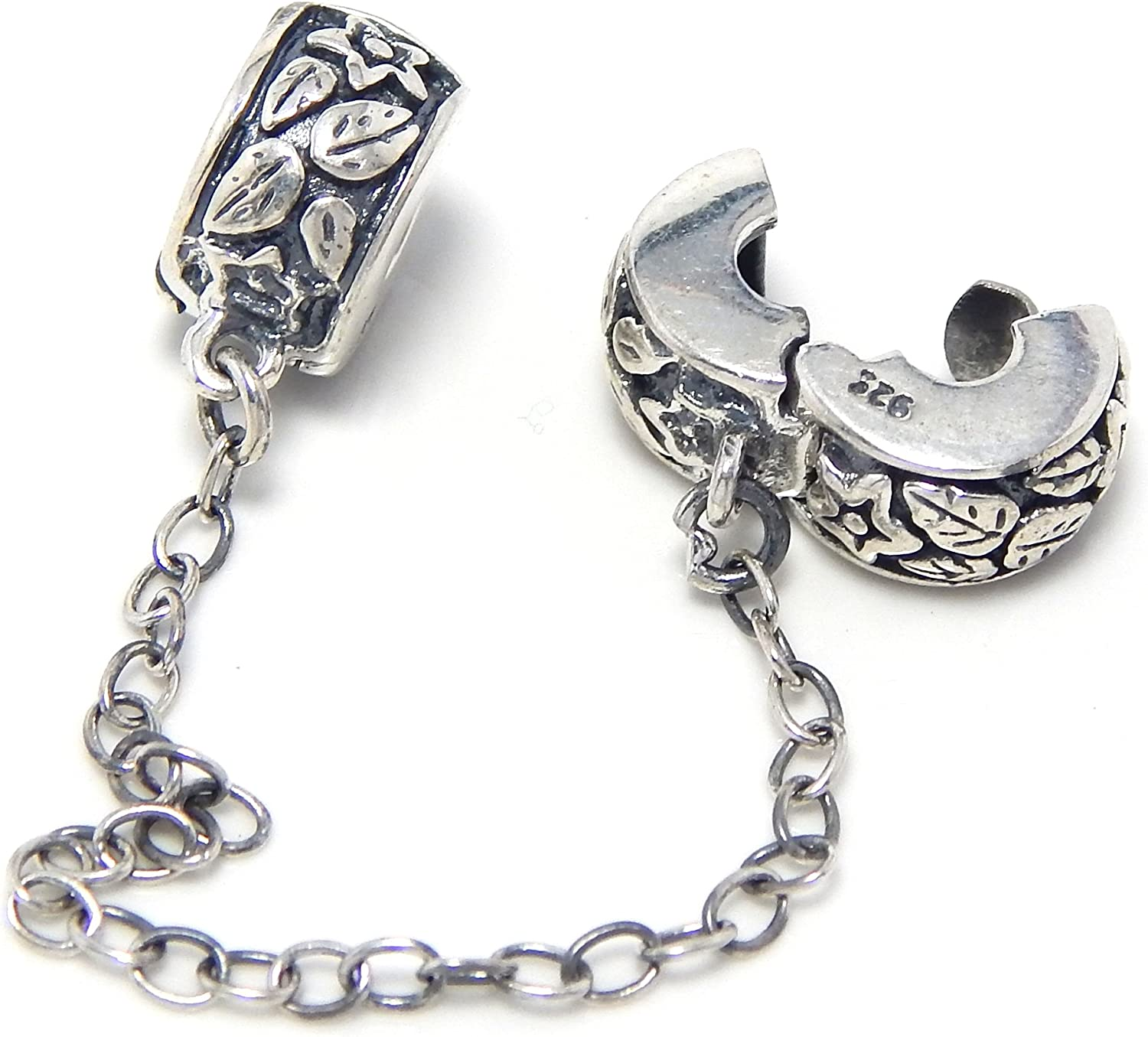 925 Sterling Silver Stars and Leaves Safety Chain Clip Lock Charm Bead
