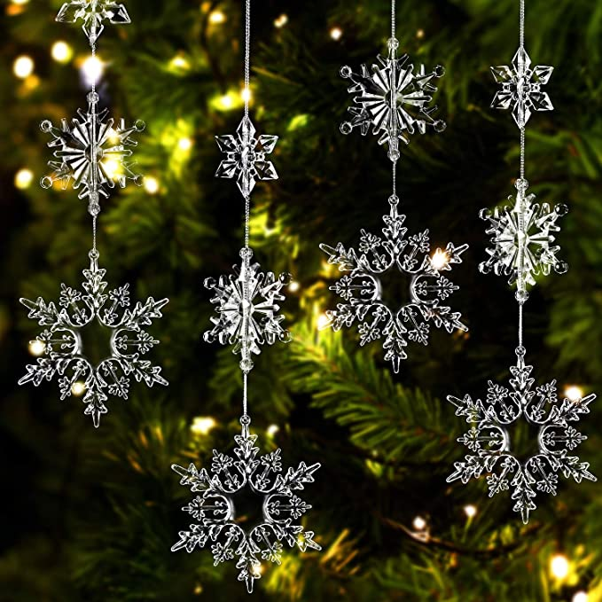 Amazon Com 36 Pieces Plastic Crystal Snowflakes Ornaments Clear Acrylic Xmas Snowflakes For Christmas Winter Diy Decoration Assorted Sizes 1 7 3 4 Inches Home Kitchen