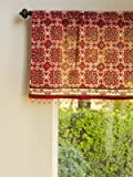 Ruby Kilim ~ Rustic Red Sheer Beaded Window Valance Treatment 46x17
