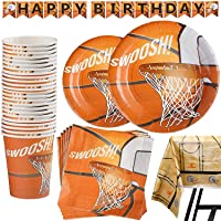 169 Piece Basketball Party Supplies Set Including Banner, Plates, Cups, Napkins, Cutlery, and Tablecloth, Serves 25