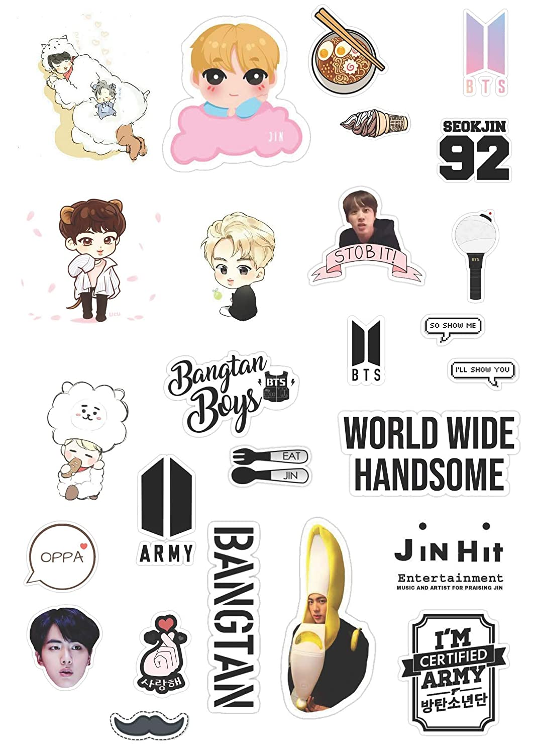 Kpop Merch Bts Jin Sticker Pack Amazon In Home Kitchen