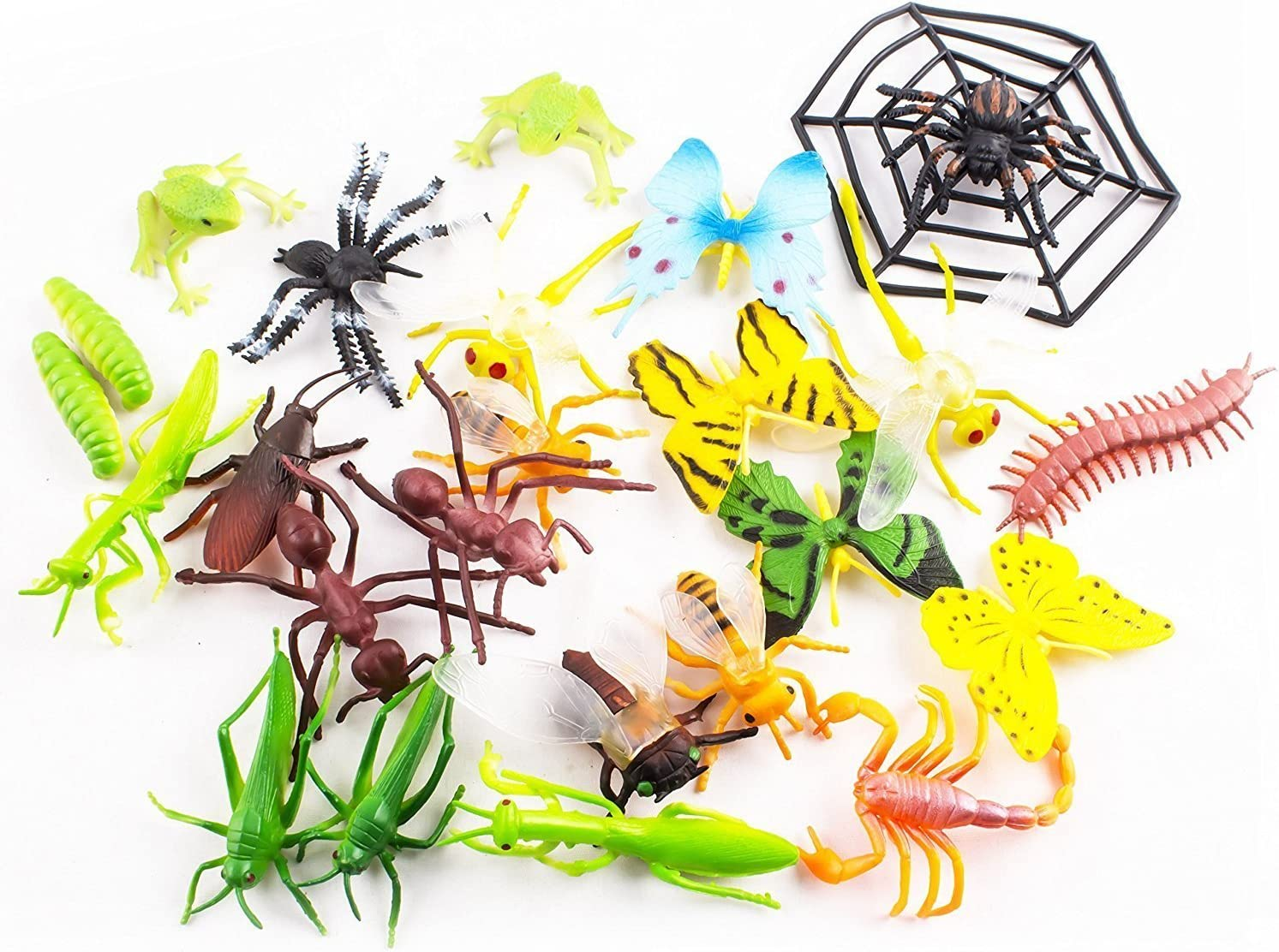 22x Mini Plastic Insects Bugs Butterflies Frogs Caterpillar Spiders Educational