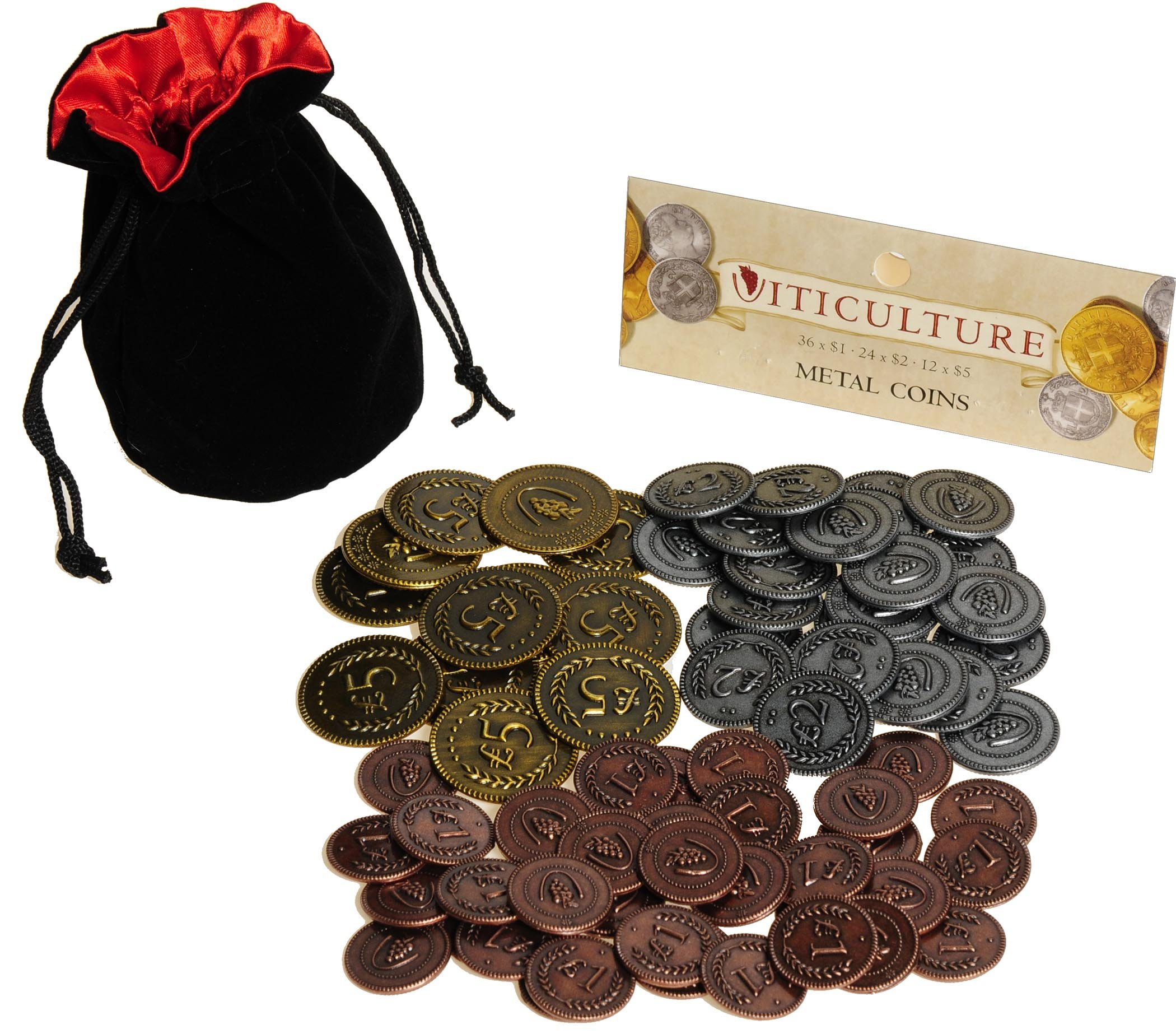 Viticulture Metal Coins Game Enhancement || 72 Coins in Various Denominations || Bonus Black Velvet/Red Satin Lined Drawstring Pouch || Bundled Items by Deluxe Games and Puzzles