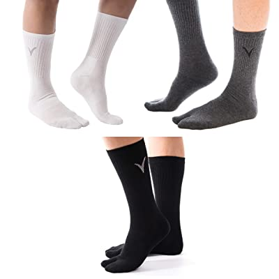 3 Pairs Combo - Athletic Flip Flop V-Toe Fun Tabi Toe Socks Thicker Sports Or Casual Style Great Jika Tabi Shoes Or Everyday Flip-Flops at Amazon Men's Clothing store