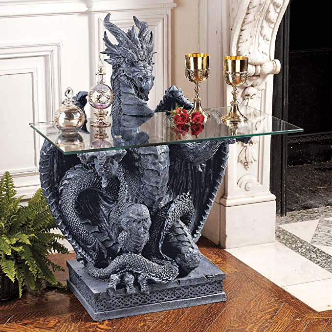 Tavolo In Vetro Con Base In Pietra.Amazon Com Design Toscano The Subservient Dragon Glass Topped