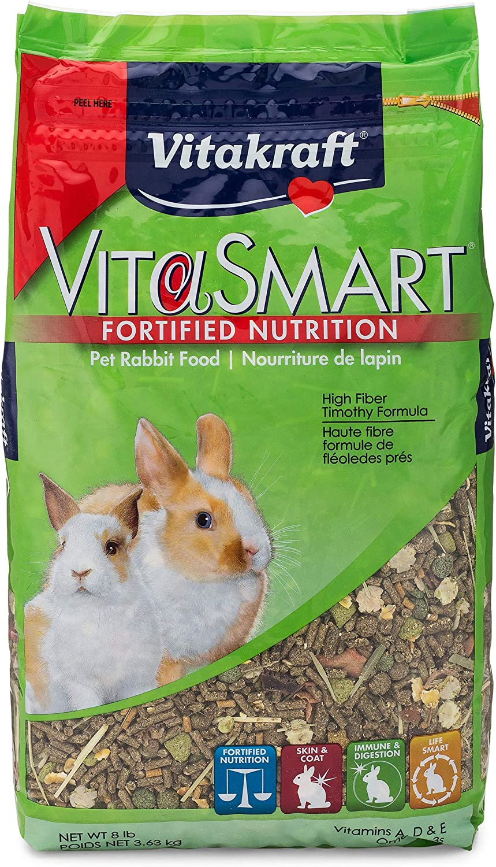 Vitakraft Pet Rabbit Food High Fiber Timothy Formula (1 Pouch), 8 Lb