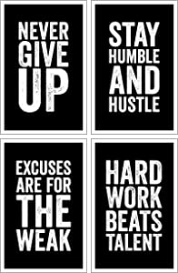 Damdekoli Motivational Posters, 11x17 Inches, Set of 4, Wall Art, Hustling, Entrepreneur Decoration, Inspirational Print Hustle