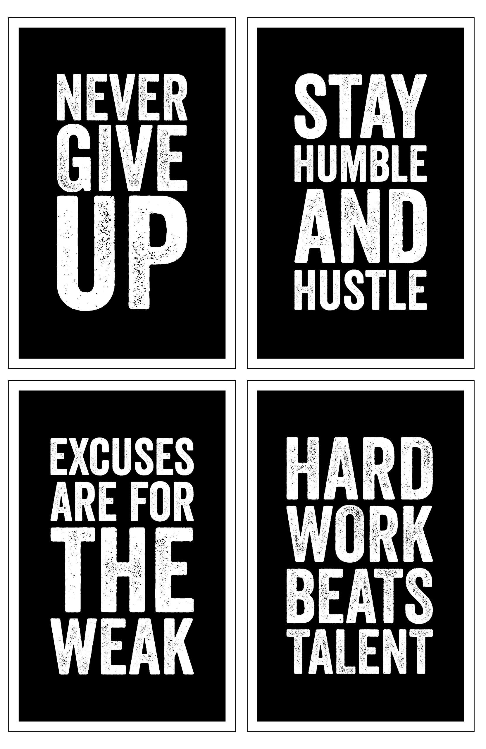 Damdekoli Motivational Posters, 11x17 Inches, Set of 4, Wall Art, Hustling, Entrepreneur Decoration, Inspirational Print Hustle by Damdekoli