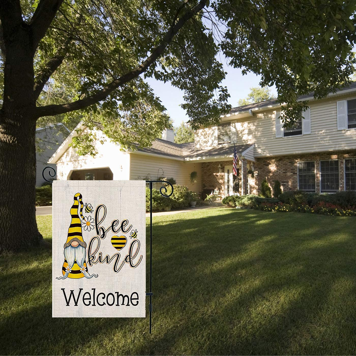 Gnomes Bee Welcome Garden Flag Burlap Summer Yard Sign Porch Outdoor Flag Decorations Double Side Vertical for Farmhouse Flags Yard Decor 12.5 x 18 Inch (Bee)
